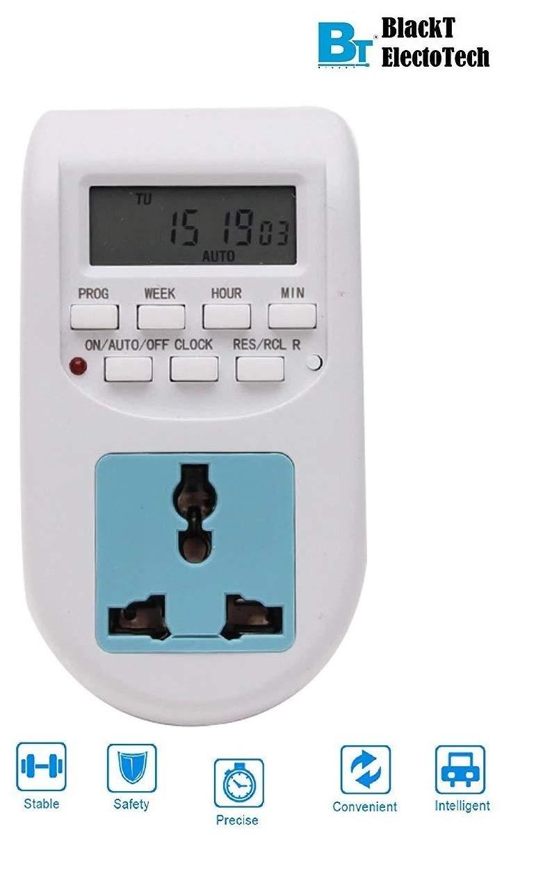 Blackt Electrotech 230V 24x7 Energy Saving Socket Type Digital Programmable Plastic Electronic Timer (White) product image