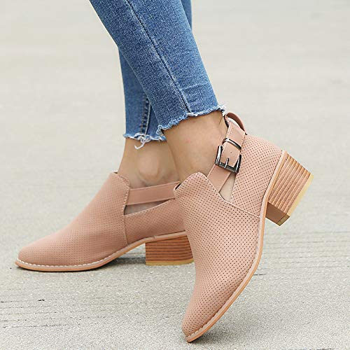 Shoes Shoes 43 Women Heel Pink Black 35 Single Strap Pink Toe Buckle Wine Booties Pointed Hollow Square Shoes p7aSFqp