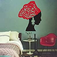 African Woman Vintage Earrings Scarf Salon Removable Vinyl Wall Sticker Decal Home Decor DIY Art Bathroom Living Room Decorate