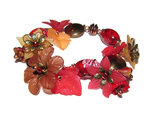 RED CHARM BRACELET Solid Copper with flowers size 7.5 Inch