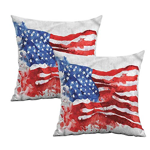 Khaki home American Square Kids Pillowcase Watercolor USA Flag Square Pillowcase Covers with Zipper Cushion Cases Pillowcases for Sofa Bedroom Car W 14