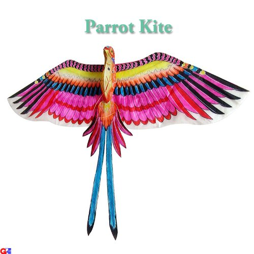 Large Pink Parrot Kite - Chinese Hand-Crafted Silk - Pink Parrot Bamboo