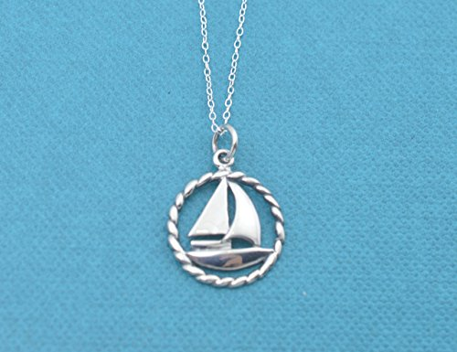 Three Sailboats (Sailboat necklace in sterling silver on an 18 sterling silver cable chain. Sailboat necklace. Sailboat charm.)