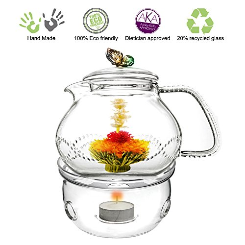 Drip Teapot (Glass Teapot with Tea Warmer Lead Free Special Glass No Drip by Tea Beyond (Glass, 24 oz Butterfly Rainbow))
