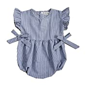 Ding-dong Baby Girl Summer Striped Triangle Romper(BLUE, 6-9M)