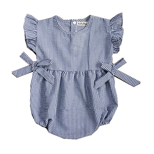Ding Dong Baby Girl Summer Striped Triangle Romper(Blue, 12-18M)