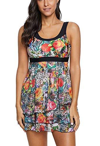 LAMISSCHE Womens Slimming Tummy Control Swimdress Swimwear Long Torso Tankini Swimsuit Retro Skirt Swimming Suit(Two-Piece Floral,M) ()