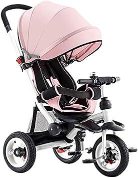 GST Triciclos Triciclo para niños Plegable asador Ventilador multifunción 4 en 1 Triciclo Trasero reclinable 1-6 años de Edad bebé Triciclo al Aire Libre 2 Colores 95x52x (90-105) cm (Color: Rosa)