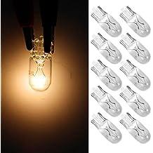 Partsam 10pcs 194 168 Miniature Halogen Bulbs Clear Bulb Side Marker Yellow Light RV Camper 12V 5W