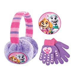 Nickelodeon Plush Earmuffs and Glove Set, Paw Patrol Skye and Everest, Purple, Girls Ages 4-7