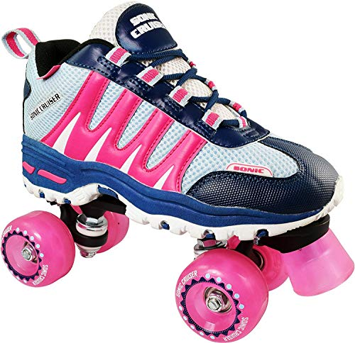 Roller Skates for Adults and Kids | Sonic Cruiser Unisex Quad Roller Skates with Sneaker Shoe Style for Indoor/Outdoor Skating (Pink) from Pacer