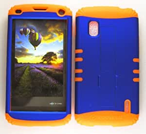 Cell-Attire Shockproof Hybrid Case For LG Nexus 4, E960 and Stylus Pen, Orange Soft Rubber Skin with Hard Cover (Non Slip, Blue) T-Mobile by Maris's Diary