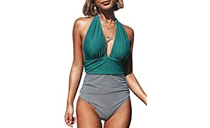 CUPSHE Women's Halter One Piece Swimsuit Keeping You Accompained Swimwear