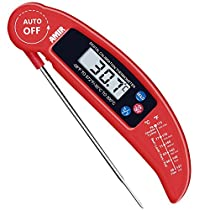 AMIR Food Thermometer, Temperature Record, Extra Long Probe, with HOLD and MAX Button, Digital Instant Read Thermometer with Probefor Kitchen Cooking, BBQ, Poultry, Grill, Battery Not Included
