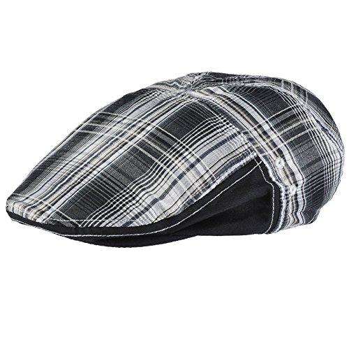 Casquette plate tartan noir
