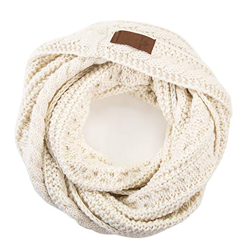 Women's Fall Winter Solid Thick Ribbed Cable Knit Muffler Infinity Circle Loop Scarf.Beige