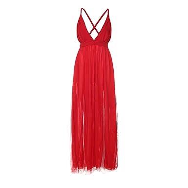 ff2e7a93c0754 OHQ Robe Sans Manches à Encolure En V Pour Femme Rouge Femmes Col Bretelles  Longue Cheville-Longueur Clubwear Jupes Mi Longues Courtes Soldes Chic  Soiree ...