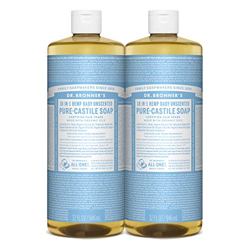 Dr. Bronner's - Pure-Castile Liquid Soap (Baby Unscented, 32 Ounce, 2-Pack)