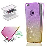 """Glitter Case for iPhone 7 4.7"""",Bling Shockproof Ultra Thin Cover for iPhone 8 4.7"""",Leecase Cool Yellow Purple Gradient Design Full Body 360 Degree Protective Clear Skin For iPhone 7/8 4.7"""""""