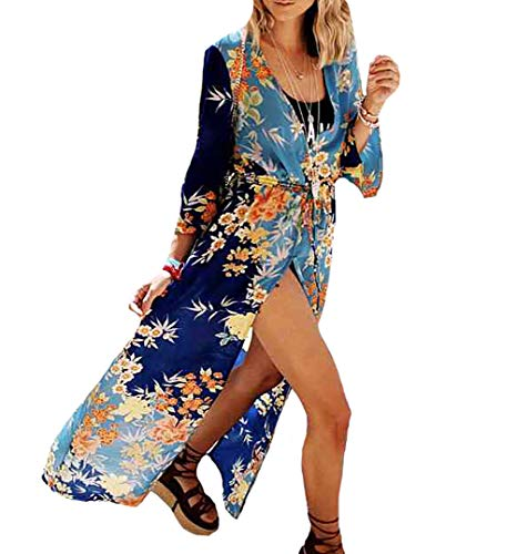 - MeiLing Women's Sexy Bikini Swimsuit Bathing Suit Cover Ups Swimwear Beach Dress Long Kimono Jacket Cardigan Robe (Print 4)