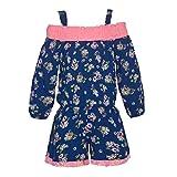 Big Girls Navy Pink Floral Print Off-Shoulder Long Sleeved Romper 10