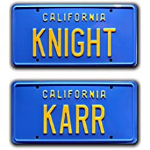 Knight Rider / KITT Trans Am / KNIGHT + KARR *STAMPED* Prop License Plate Combo