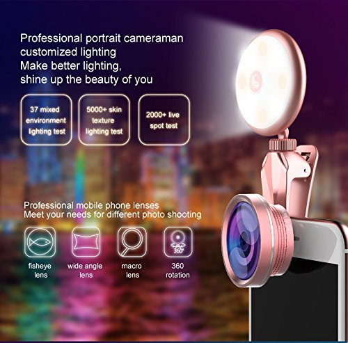 Selfie Light with iPhone Camera Lens,Yomiro 360° LED Flsh Light + 4K HD Wide Angle Lens + 185° Fisheye Lens + 50X Macro Lens, Rechargeable Clip On Selfie Light For Phone, iPhone, iPad, Samsung Gal by Yomiro (Image #1)