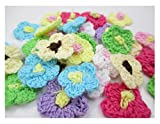 "ALL in ONE 80pcs Mixed 1"" Mini Crocheted Flowers Appliques Embellishment for DIY Craft Clothing"