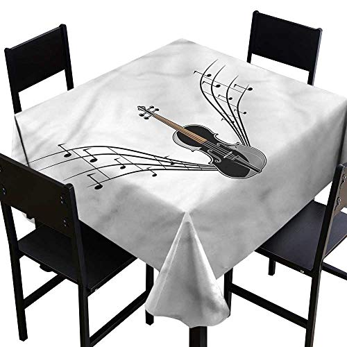 haommhome Dustproof Tablecloth Violin Wooden String Musical Notes Soft and Smooth Surface W63 xL63 Waterproof/Oil-Proof/Spill-Proof Tabletop Protector -