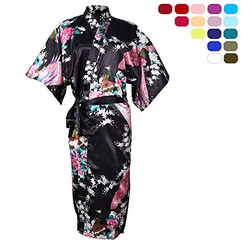 OJIA Peacock Blossoms Kimono Silk Bathrobe Long Nightwear