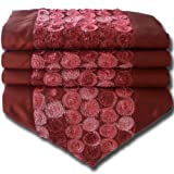 soljo - tablecloth tablerunner table runner linen Thai Silk Elegant precious FRITURE 200 cm x 30 cm many colors (bordeaux)