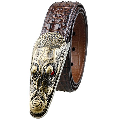 Moonsix Leather Belts for Men 35mm Alligator Crocodile Embossed Dress Belt with Plaque Buckle,Style 1-Coffe - Crocodile Belt Strap