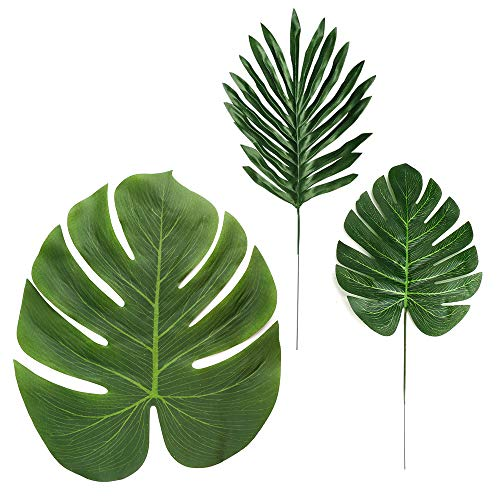 (LJDJ Tropical Leaves Palm - 32 Pcs 3 Kinds - Artificial Silk Fabric Monstera Decoration Leaf - Baby Shower Hawaiian Luau Safari Jungle Beach Pink Flamingo Party Supplies Table)