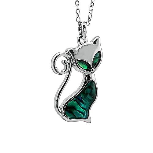 903448a46c85 Kiara Jewellery - Collar con colgante de gato con incrustaciones de paua  verde azulado en cadena de 45 cm No se deslustra
