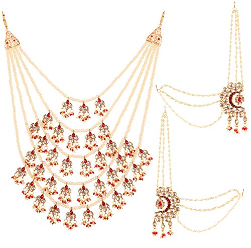 Touchstone New Bollywood Maharani Manikarnika Kangana Ranaut Fame Masterly Crafted Kundan Faux Ruby Meenakari Five Pearls Strands Designer Jewelry Long Royal Necklace Set in Gold Tone for Women.