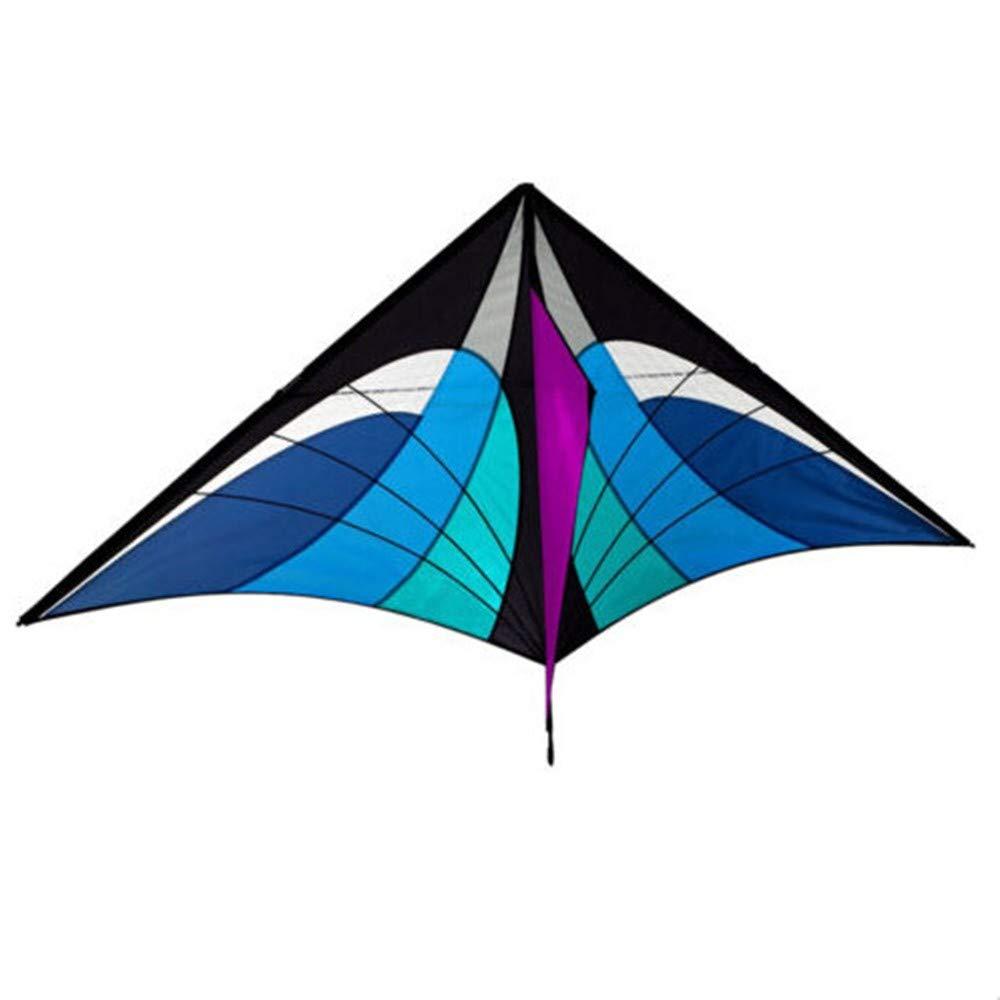 GUNDAN Jouet De 3,2 M De Haute Qualité À Haute Tension avec Une Ligne Et Un Cerf-Volant Triangle Bleu avec Poignée Et Bon Vol