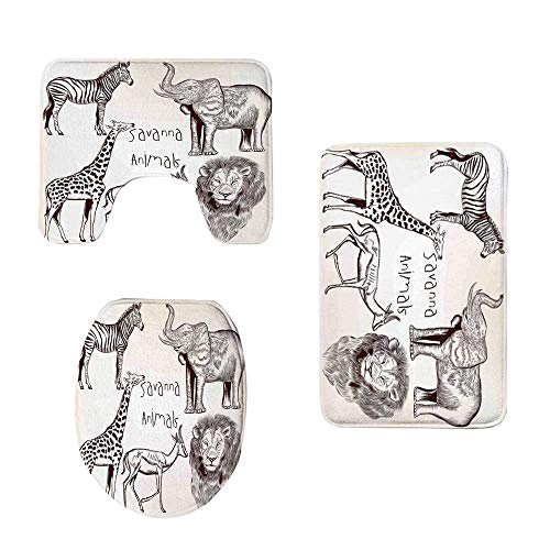 YOLIYANA Safari Stylish Three Piece Toilet Seat Pad,Collection of Tropic African Asian Wild Savannah Animals Lion Giraffe Zebra Graphic for Toilet,One Size