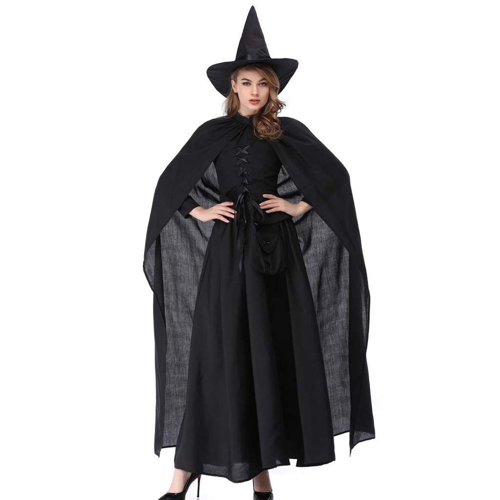 BBFairy Women's Witch Uniform Party Costume Set, Cosplay Halloween Clothes Festival Long Dress Skirts (Black, M) by BBFairy