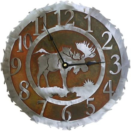Amazon Com Moose Rust Patina And Burnished Steel Wall Clock 12 Inch Home Kitchen
