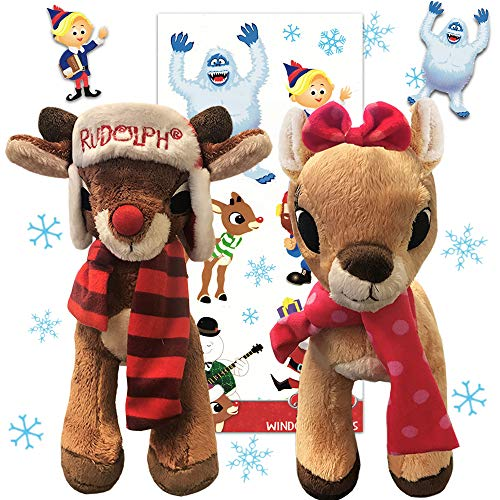 Rudolph the Red Nosed Reindeer Plush Pillow Pet 2-Pack Stocking Stuffer Set (Rudolph and Clarice) with Rudolph Stickers Window Clings