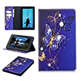 All New Fire 7 2017 Case, PU Leather Ultra Slim Lightweight Front Support Cover Wallet Flip Folio Case Kickstand Card Slots Protective Skin for Amazon Fire Tablet (Universal 2015 Fire 7 inch), Blue