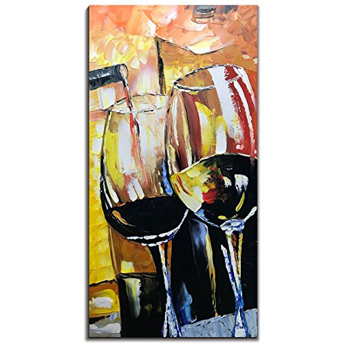 Yotree Paintings, 24x48 Inch Paintings Wine Glass Oil Hand Painting Painting 3D Hand-Painted On Canvas Abstract Artwork Art Wood Inside Framed Hanging Wall Decoration Abstract Painting