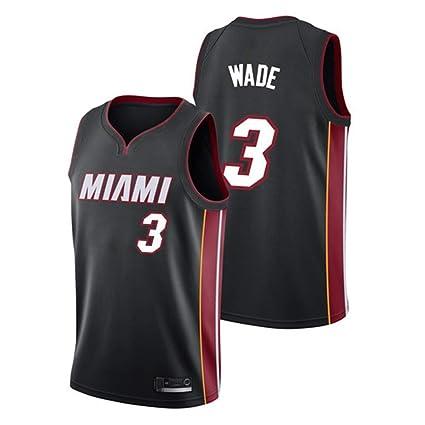 Hombre Mujer Ropa de Baloncesto NBA Miami Heat 3# Wade Jersey Camiseta de Baloncesto da Bordado