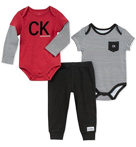 (Calvin Klein Baby Boys 3 Pieces Bodysuit Pant Set, red/Black, 3-6 Months)