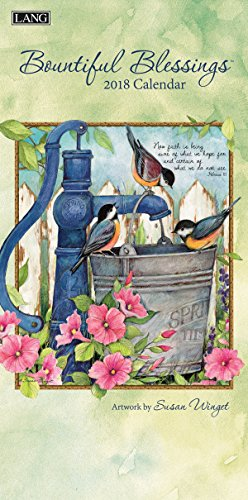 "LANG - 2018 Vertical Wall Calendar - ""Bountiful Blessings"", Artwork by Susan Winget - 12 Month, Open Size 7.75"" x 15.5"""