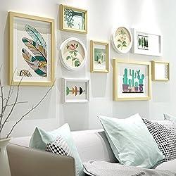 Collage de marco de fotos 9 cuadros moderno minimalista marco de fotos de madera foto creativa pared de la pared / foto marco de la pared / combinación de marco / collage de marco ( Color : The original white )