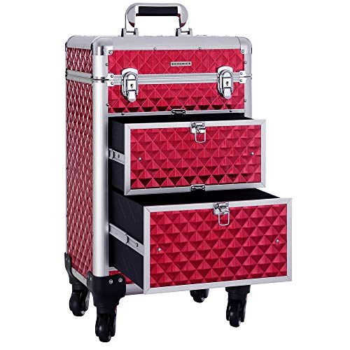 SONGMICS Makeup Case Rolling Trolley Cosmetic Luggage Case/Extra Large for Hairdressing & Makeup with Removable wheels, Sliding Drawers, Reinforced Rod Easily Portable for Travel, Red UJHZ08RDV1 ()
