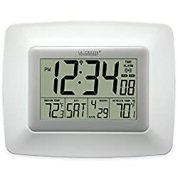 La Crosse Technology Atomic Digital Wall Clock with Indoor and Outdoor Temperature, (White)