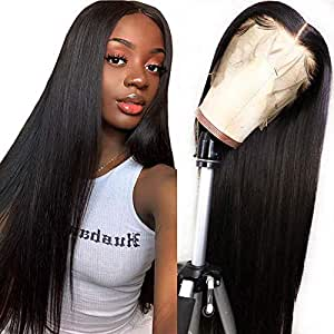 Lace Front Human Hair Wigs for Women Pre Plucked Hairline Bleached Knots 150% Density Brazilian Straight Lace Front Wigs with Baby Hair Natural Color (16 inch, 13x4 Straight Wig)