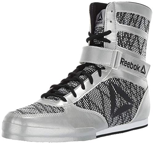 Reebok Men's Boot Boxing Shoe, Silver/White/Black, 11.5 M US (Best Type Of Shoes For Crossfit)